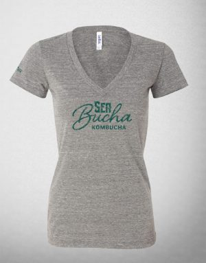 SeaBucha Women's Light Gray V-neck T-shirt